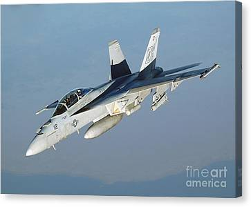 An Fa-18f Super Hornet Conducts Canvas Print by Stocktrek Images