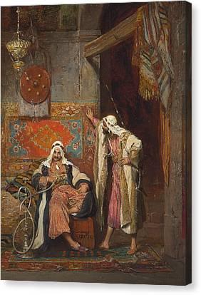 An Idle Conversation, 1872 Canvas Print