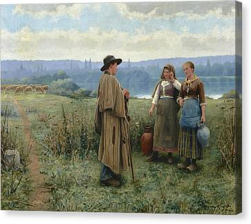 An Idle Moment Canvas Print by Daniel Ridgway Knight