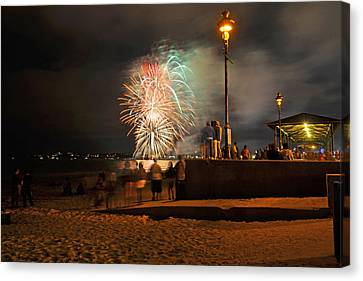 Lamp Post Canvas Print - An Impressive Display Revere Beach Fireworks 2015 2 by Toby McGuire