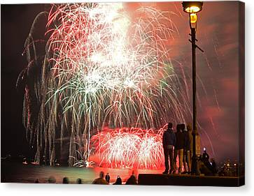 Lamp Post Canvas Print - An Impressive Display Revere Beach Fireworks 2015 by Toby McGuire