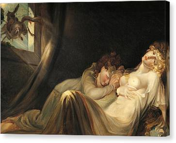 An Incubus Leaving Two Sleeping Girls Canvas Print by Henry Fuseli