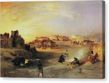 Settlers Canvas Print - An Indian Pueblo by Thomas Moran