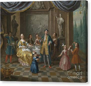An Interior Scene With Figures Seated At A Table  Canvas Print by Celestial Images