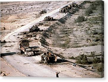 An Iraqi Armored Column Destroyed Canvas Print by Everett