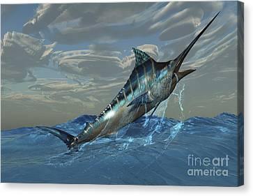 An Iridescent Blue Marlin Bursts Canvas Print