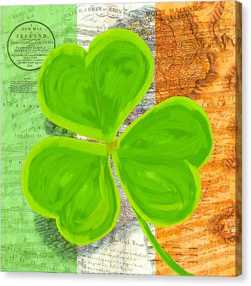 An Irish Shamrock Collage Canvas Print by Mark Tisdale