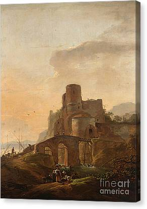 An Italianate Landscape With A Bridge Canvas Print by Celestial Images