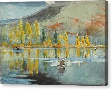 Canvas Print featuring the painting An October Day by Winslow Homer