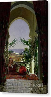 An Odalisque On A Terrace Canvas Print by David Emil Joseph de Noter
