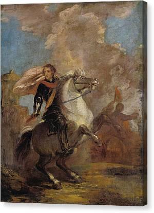 An Officer On Horseback Canvas Print by Joshua Reynolds