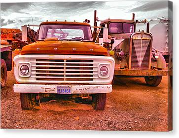 Canvas Print featuring the photograph An Old Ford And Kenworth by Jeff Swan