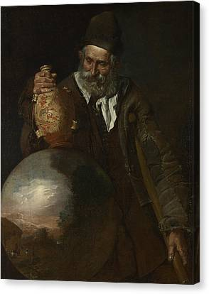An Old Man Holding A Pilgrim-bottle Canvas Print by Pietro Bellotti