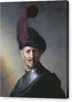 An Old Man In Military Costume Canvas Print by Rembrandt