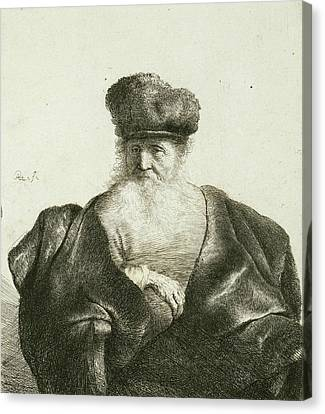 Old Man With Beard Canvas Print - An Old Man With A Beard, Fur Cap, And Velvet Cloak by Rembrandt