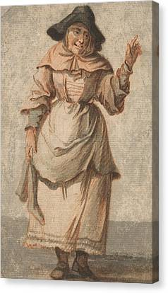 An Old Market Woman Grinning And Gesturing With Her Left Hand Canvas Print by Paul Sandby