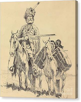 Reins Canvas Print - An Old Time Mountain Man With His Ponies by Frederic Remington