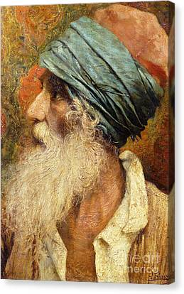 Old Man Canvas Print - An Oriental by Antonio Maria Fabres y Costa
