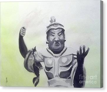 Canvas Print featuring the painting An Oriental Statue At Toledo Art Museum - Ohio by Yoshiko Mishina