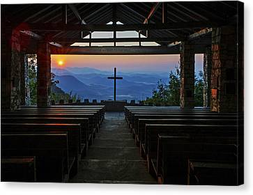 An Outdoor Mountain Chapel   Symmes Chapel Aka Pretty Place  Greenville Sc Canvas Print