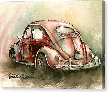 An Oval Window Bug In Deep Red Canvas Print by Michael David Sorensen