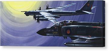 An Raf Phantom Of Strike Command Pulls In Close To A Russian Tupolev Tu95d  Canvas Print by Wilf Hardy
