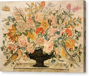 In Bloom Canvas Print - An Urn Containing Flowers On A Ledge by Octavianus Montfort
