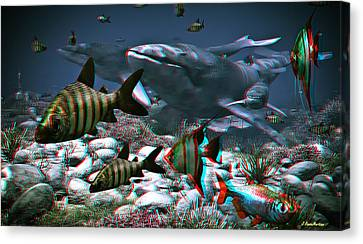 Anaglyph Whales Canvas Print by Ramon Martinez