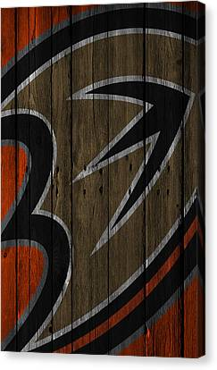 Anaheim Ducks Wood Fence Canvas Print by Joe Hamilton