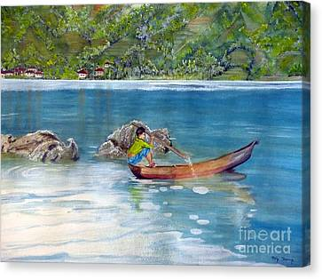 Canvas Print featuring the painting Anak Dan Perahu by Melly Terpening