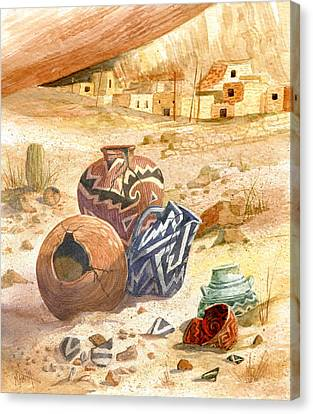 Canvas Print featuring the painting Anasazi Remnants by Marilyn Smith