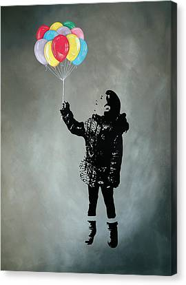 Stencil Canvas Print - Street Art Painting, Stencil-graffiti Style, Anastasia's Balloons - Urban Figure by Vagelis Karathanasis