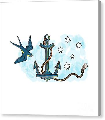 Anchor Swallow Southern Star Tattoo Canvas Print