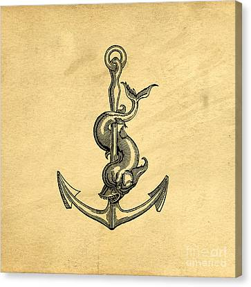 Canvas Print featuring the drawing Anchor Vintage by Edward Fielding
