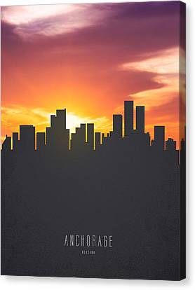 Anchorage Alaska Sunset Skyline 01 Canvas Print by Aged Pixel