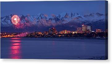 Anchorage Fur Rondezvous Fireworks Canvas Print by Rocky Grimes