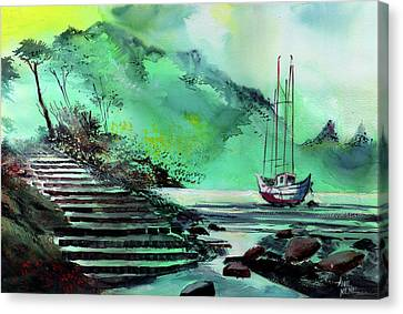 Canvas Print featuring the painting Anchored by Anil Nene