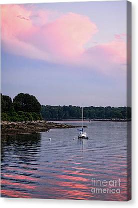 Anchored At Peaks Island, Maine  -07828 Canvas Print by John Bald