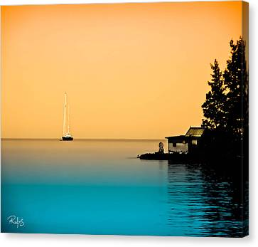 Anchored Near A Temple - Sureal Canvas Print by Allan Rufus