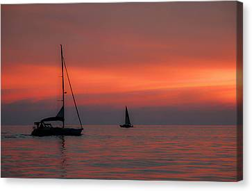 Anchored Sunset Canvas Print by Debra Farrey