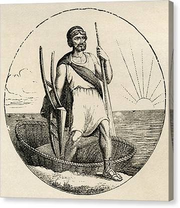 Ancient Briton With Coracle And Plow Canvas Print by Vintage Design Pics