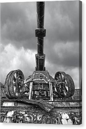Ancient Cannon In Black And White Canvas Print by Gill Billington