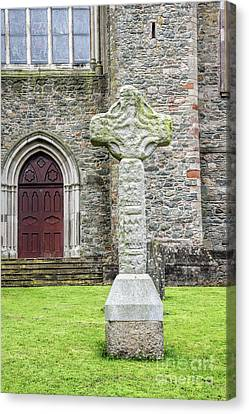 Ancient Celtic Cross At Down Cathedral In Downpatrick Ireland Canvas Print
