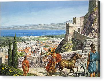 Ancient Corinth Canvas Print by Roger Payne