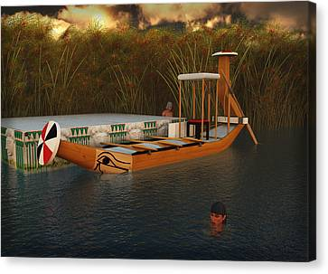 Hathor Canvas Print - Ancient Egypt Leisure Boat by Leone M Jennarelli