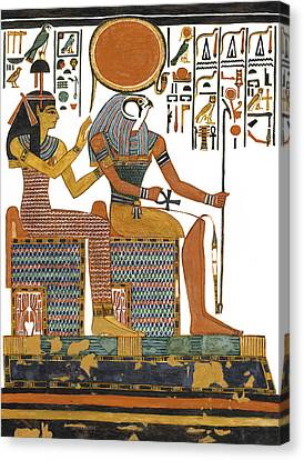 Hathor Canvas Print - Ancient Egyptian Gods Hathor And Re by Ben  Morales-Correa