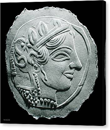 Canvas Print featuring the relief Ancient Greek Relief Seal Drawing by Suhas Tavkar