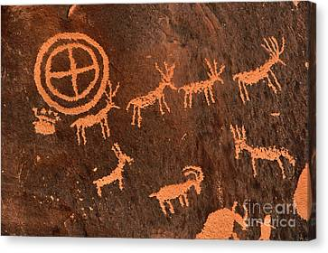 Ancient Indian Petroglyphs Canvas Print by Gary Whitton