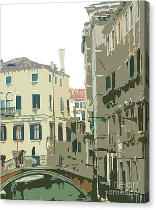 Ancient Italian Canal In Venice Canvas Print by Mindy Newman