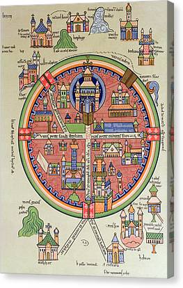 Medieval Temple Canvas Print - Ancient Map Of Jerusalem And Palestine by French School